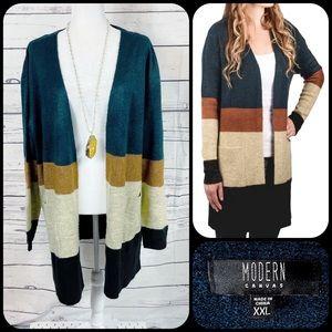 MODERN CANVAS Striped Long Open Sweater Cardigan